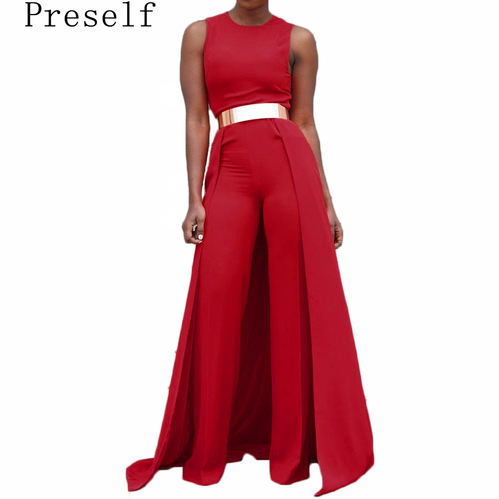 Preself Fashion Sleeveless Jumpsuit Women Sexy O Neck High Waist Embellished Slim Jumpsuit Romper Pants No