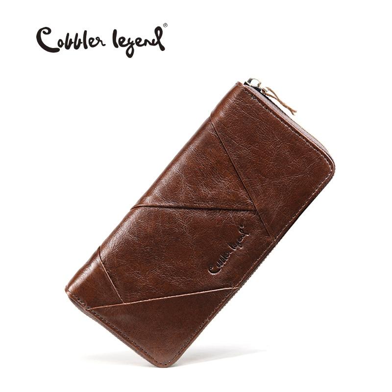 Cobbler מקרא 2018 חדש רטרו מגמה נשים ארנקים לגברת עור אמיתי רזה קלאץ ארנק לנערות ארוך מטבע כרטיס ארנקים