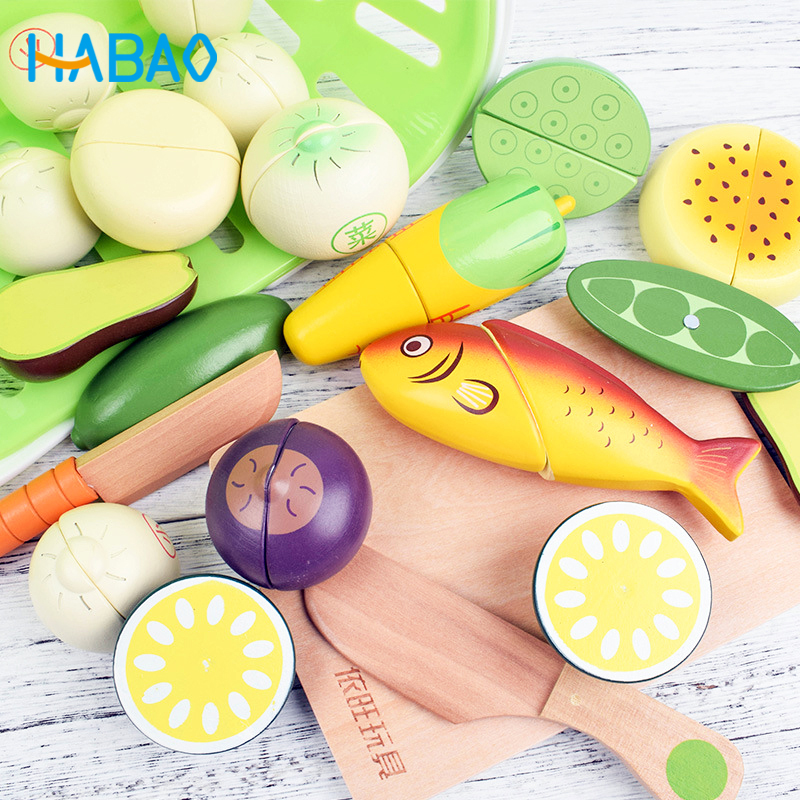 Wooden Magnetic Toys Hobbies Pretend Play Cooking Food Miniature Fruits Cutting Vegetable Condimen Educational Gift For Children