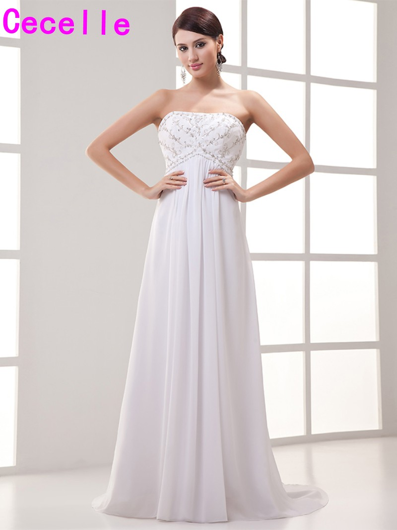 2017 New Strapless Long Chiffon Maternity Wedding Dresses Vintage Embroidery Beaded Summer Pregnancy Bridal Gowns Informal