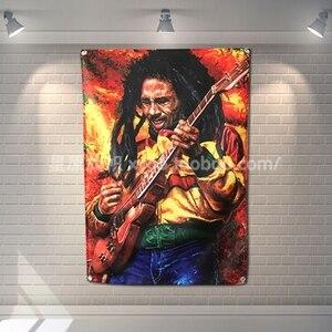 Singer Colorful Banner Music Rock Band Rasta Reggae Jamaica Home Decoration Hanging flag 4 Gromments 3*5FT 144cm*96cm(China)