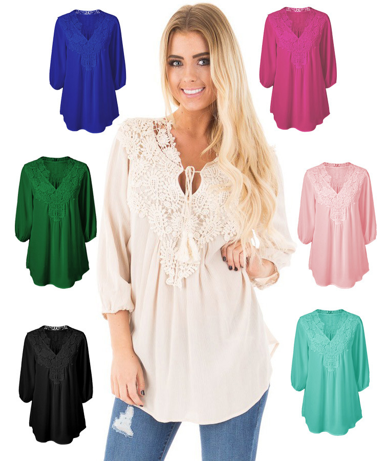 2017 New Women Casual Basic Summer Autumn Lace Chiffon Blouse Top Shirt blusas patchwork Loose Plus Size