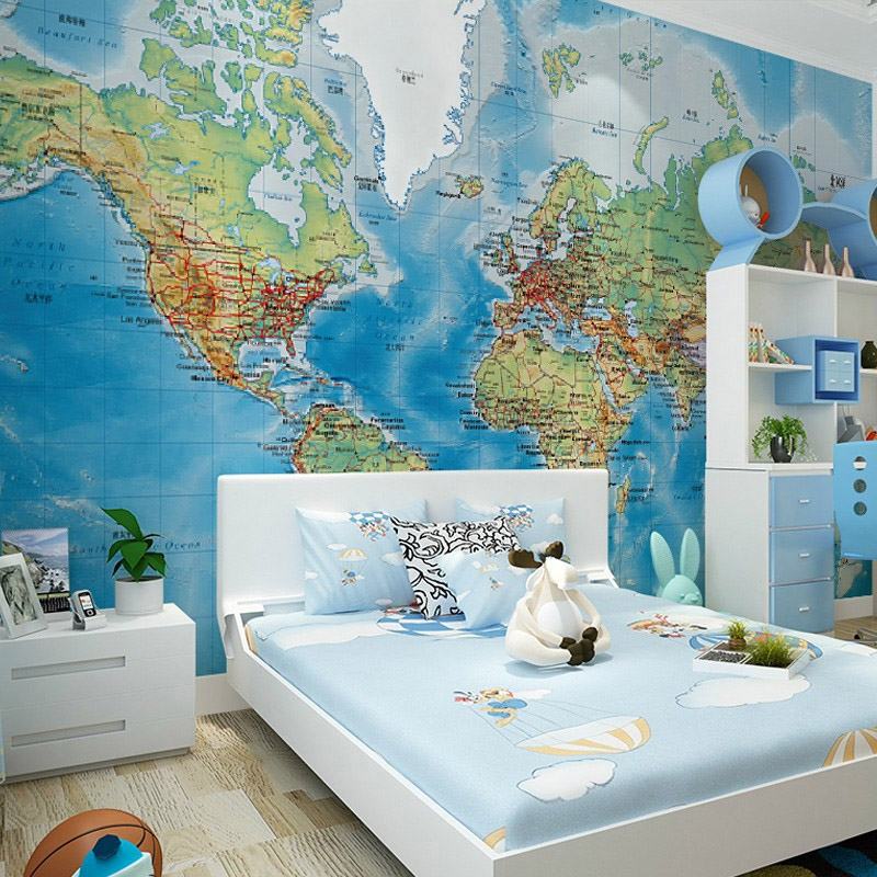 Wallpaper Design Room: HD World Map Photo Mural Wallpaper Study Kid's Room Living