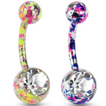 1 PC Paint Camouflage Colorful Navel Piercing Earrings Ball Rhinestones Navel Earrings Friend New Year Gift