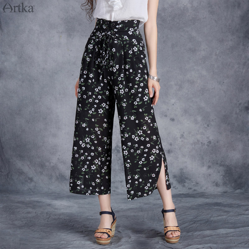 ARTKA 2018 Floral Wide Leg Pants Women Chiffon High Waist Drawstring Casual Calf -Length Pants Side Slit Female Trouser KA10775X