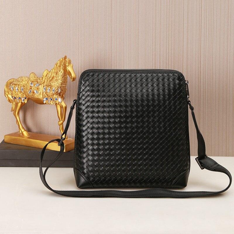 Kaisiludi leather woven men s bag single shoulder bag vertical men s oblique cross bag leather