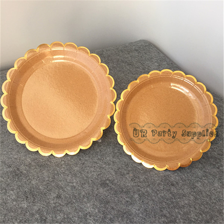 Free Ship 80pcs Kraft Paper Plates 7\ /9\  Shiny Gold Foil Scallop Edge Wedding Sweet Dish Fruit Plates Event \u0026 Party Supplies -in Disposable Party Tableware ... & Free Ship 80pcs Kraft Paper Plates 7\