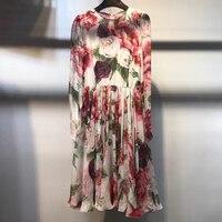 Платье с принтом для Для женщин с длинными рукавами и круглым вырезом модные элегантные женское летнее платье 2018 новые шелковые Для женщин
