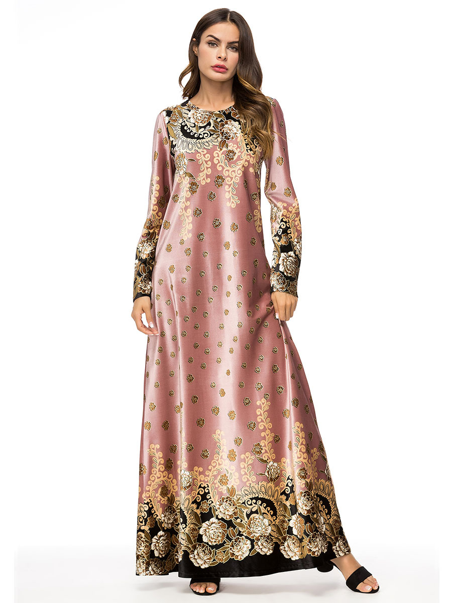 af5aa1fe68a Musulman femmes manches longues velours broderie Dubaï robe maxi abaya  jalabiya islamique femmes hiver robe caftan