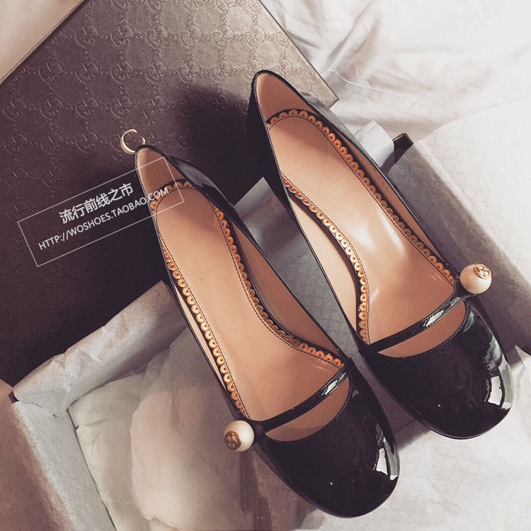 ФОТО 2016 new spring and Mary Jane shoes shallow mouth thick with small round pearl leather high-heeled shoes shoes single