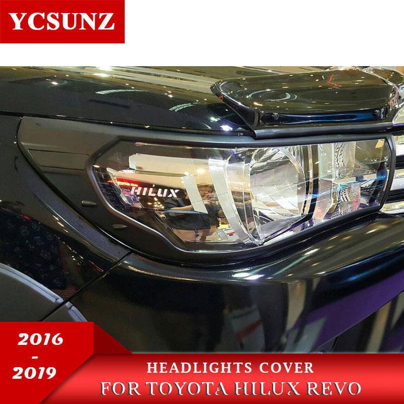 Black Car Accessories Head Lights Cover For Toyota Hilux Revo 2015 2016 2017 2018 Basic Version