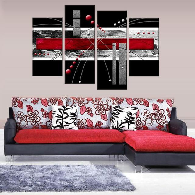 High Quality Color Hand Painted Red Black Grey Abstract imagine Wall ...