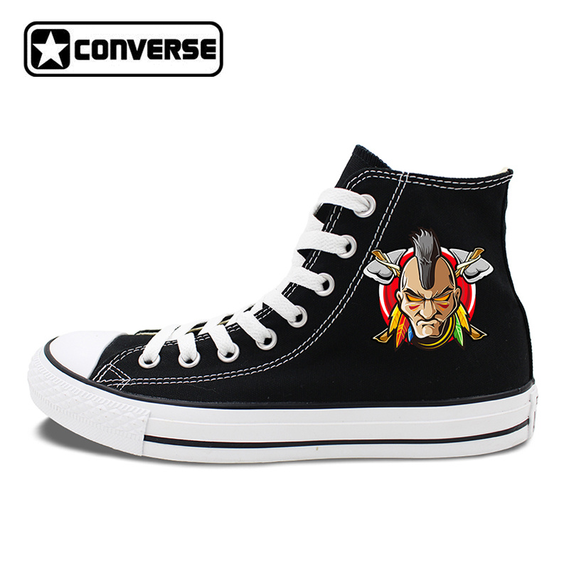 Original Converse Shoes Men Women Canvas Sneakers Design Indians Element High Top Skateboarding Shoes White Black Color hand painted skull flower converse chucks men women skateboarding shoes floral canvas sneakers high top flats