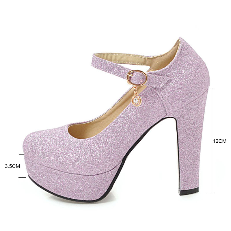 Fanyuan 2019 Bling new Sexy Ladies Dress Shoes Round Toe Platform Women 39 s High Pumps Shallow Female 39 s Mary Jane Heels 12 cm in Women 39 s Pumps from Shoes