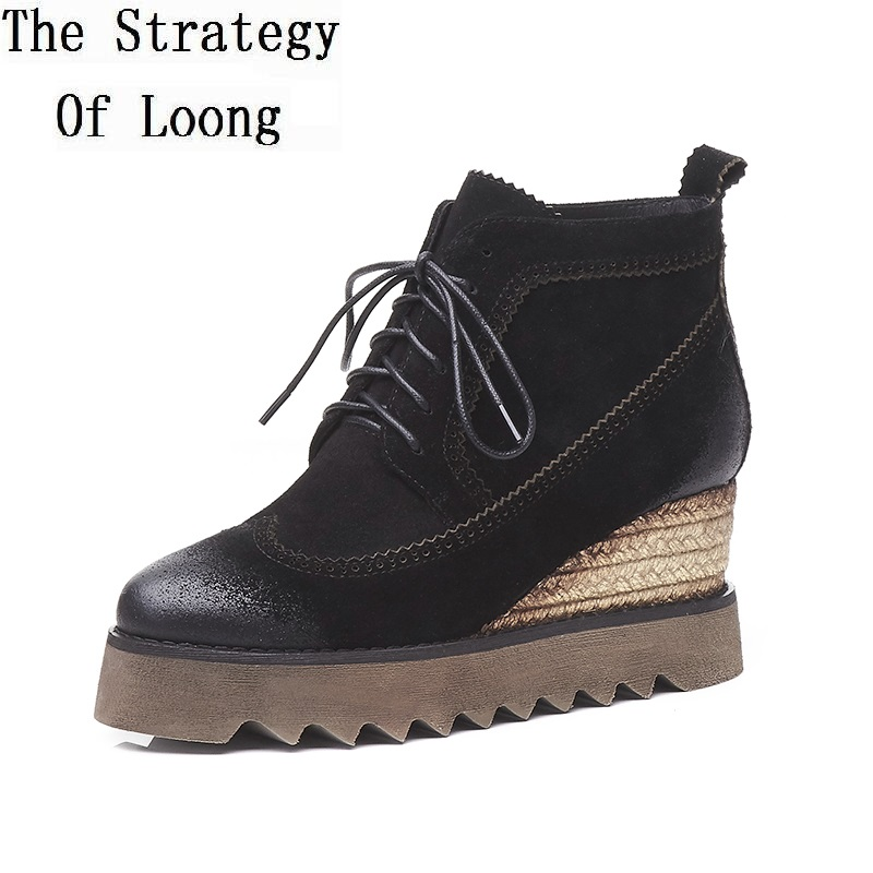 Women Genuine Leather Retro Wedges Chunky Spring Autumn Short Boots Lady Increasing Heels Ankle Boots 170824