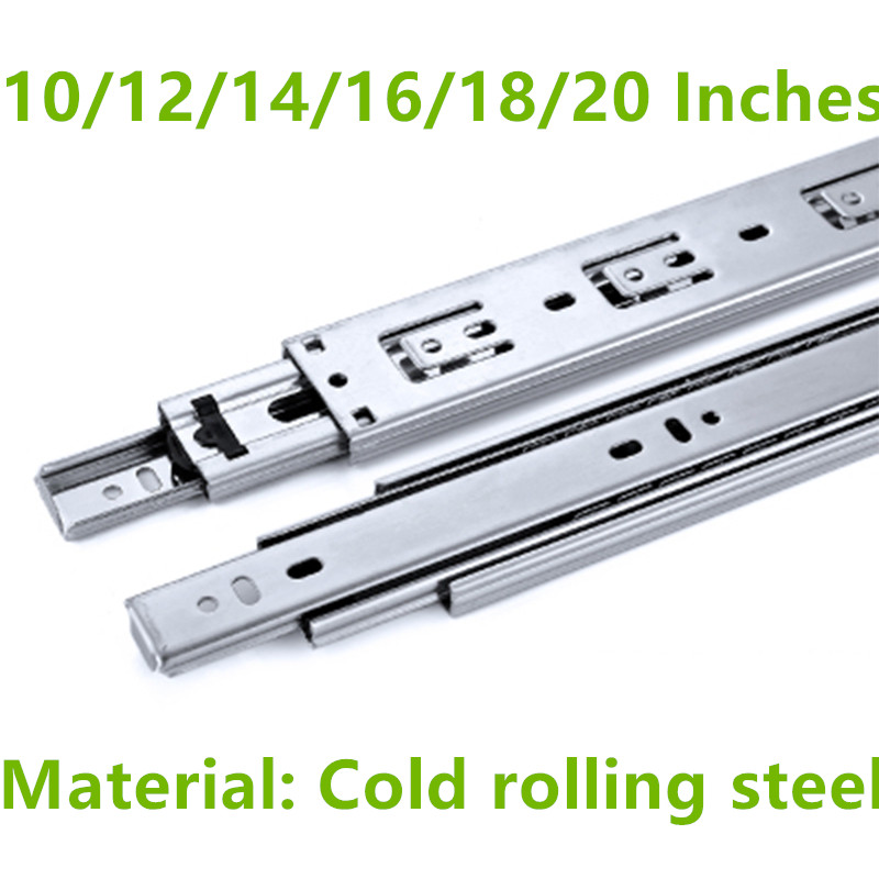 10/12/14/16/18/20 Inches Cold rolling steel Drawer slide rail three section wardrobe ball slide rail track hardware fittings 22 inches drawer slide rail keyboard slide rail stainless steel three section wardrobe ball slide rail track hardware fittings