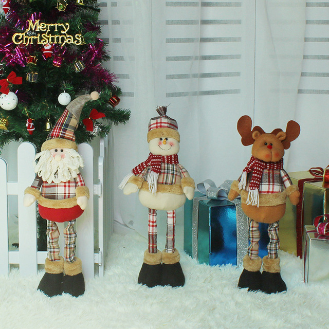 1pcs top sale telescopic bar santa claus office christmas decorations for tree hanging ornaments pendant gift