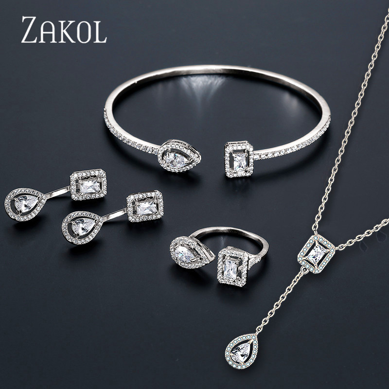 ZAKOL Brand Fashion Design Jewelry Set Sparking CZ Stone Earrings Bracelet & Bangle Ring For Women Engagement FSSP3011(China)