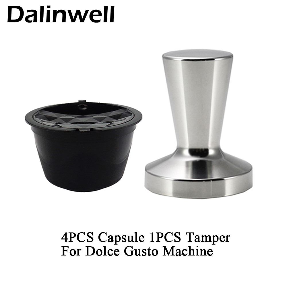 5PCS Refillable Dolce Gusto Coffee Capsule Stainless Steel Cafe Tamper Nescafe Reusable Capsula