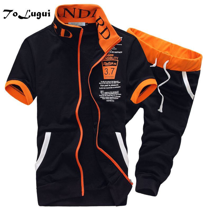 2018 Summer Cardigan Mens Sporting Two Pieces Short Sleeves Hoodies Tracksuit and Short  ...