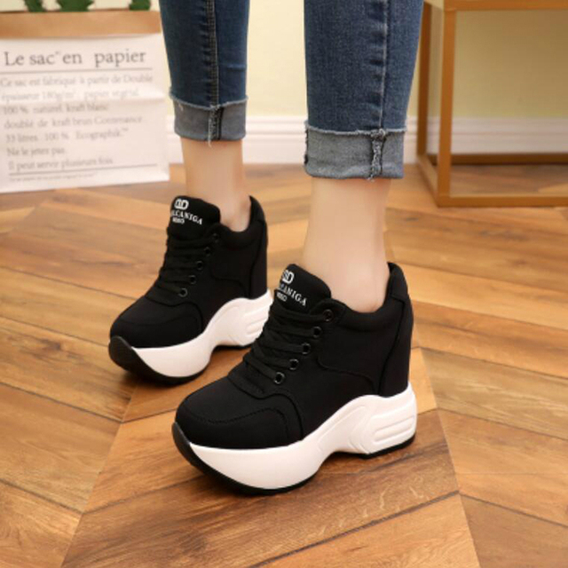 Women Sneakers Mesh Casual Platform Trainers White Shoes 10CM Heels Autumn Wedges Breathable Woman Height Increasing Shoes  6