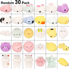 30pcs\pack Mochi Squishies Squishy Toys Squeeze Random Animals Stress Toy Cat Fun Kids Kawaii