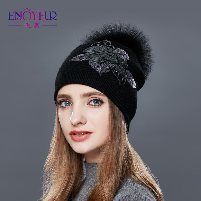 eb260e23926 ENJOYFUR Floral Sequins Embroidery Winter Hats Women Raccoon Fur Pom Pom Hat  Female Girl Wool Knitted Beanies Gravity Falls Cap