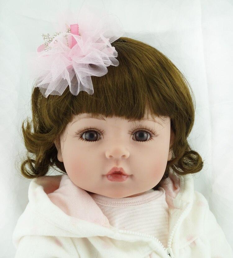 22inch Cute Curls Hair Lifelike Simulation Soft Newborn Bonecas Bebe Princess Doll Kids Toy Silicone Reborn Baby Dolls