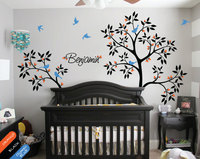 Personalised Baby Name Large Tree Wall Decals 2 Piece Tree Branches Tree Wall Stickers For Kids