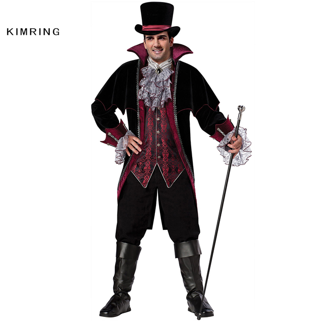 Kimring Vampire Halloween Costume Gothic Versailles Masquerade Party Adult Man Costume Fantasia Carnival Evil Devil Cosplay