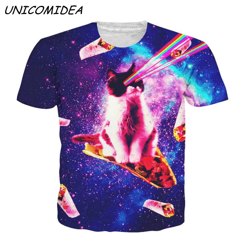 2019 3D T Shirt Men Women Meat Roll Laser Cat Space Galaxy Printed Graphic Tshirts Casual Alpaca Pizza Plus Size Tops Tees 3XL