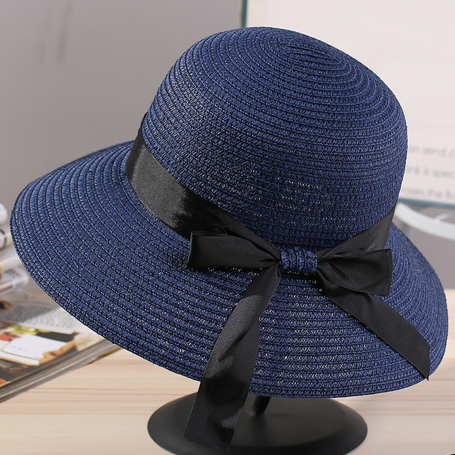 0964c8e479e9f 2018 Shade Caps Sun Hat Ribbon Round Flat Top DIY Straw Beach Panama Hat  Summer Hats For Women Straw Hats Snapback Gorras