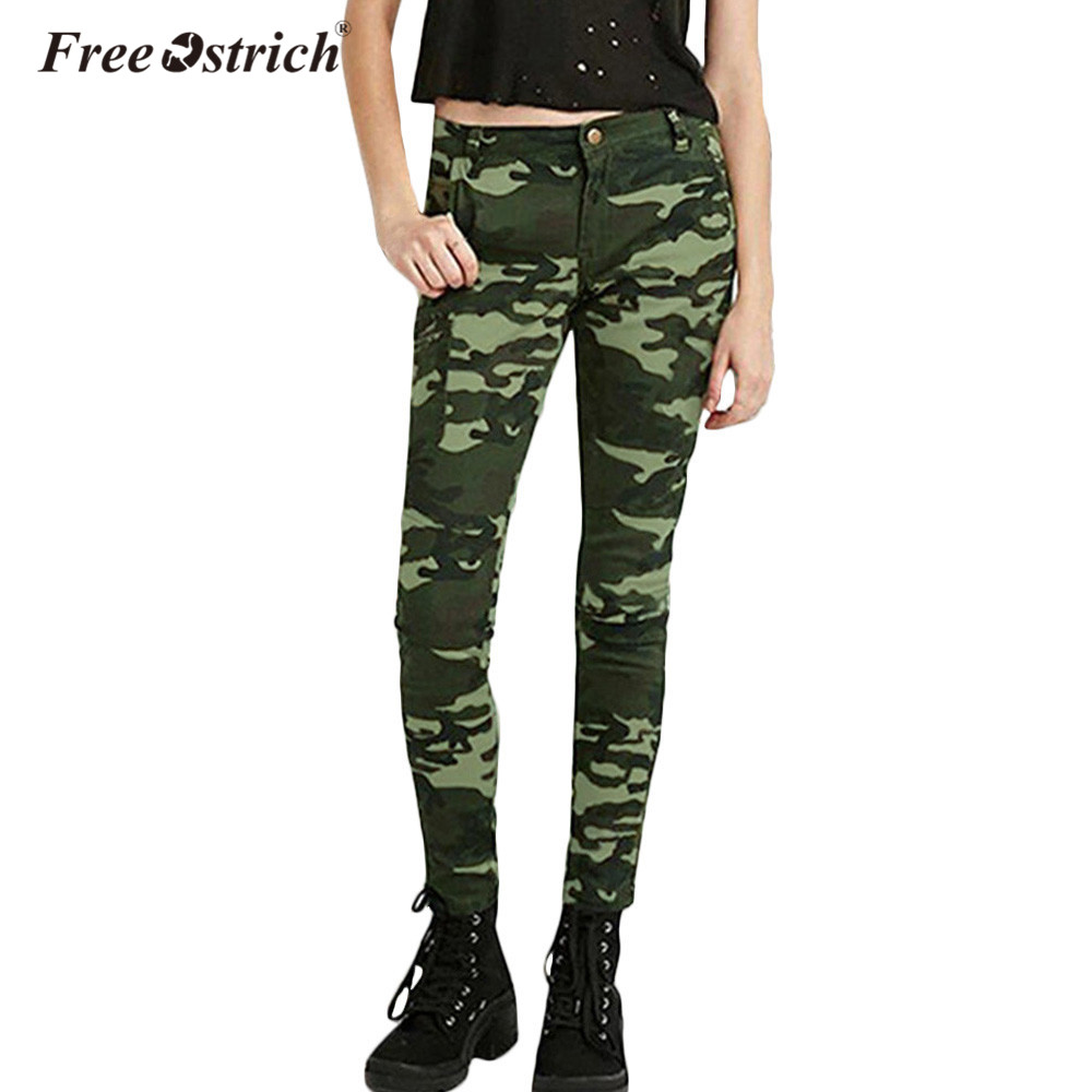 Free Ostrich Jeans For Women 2017 S-XXXXXL Plus Size Chic Camo Army Green Skinny Femme Camouflage Cropped Pencil Pants