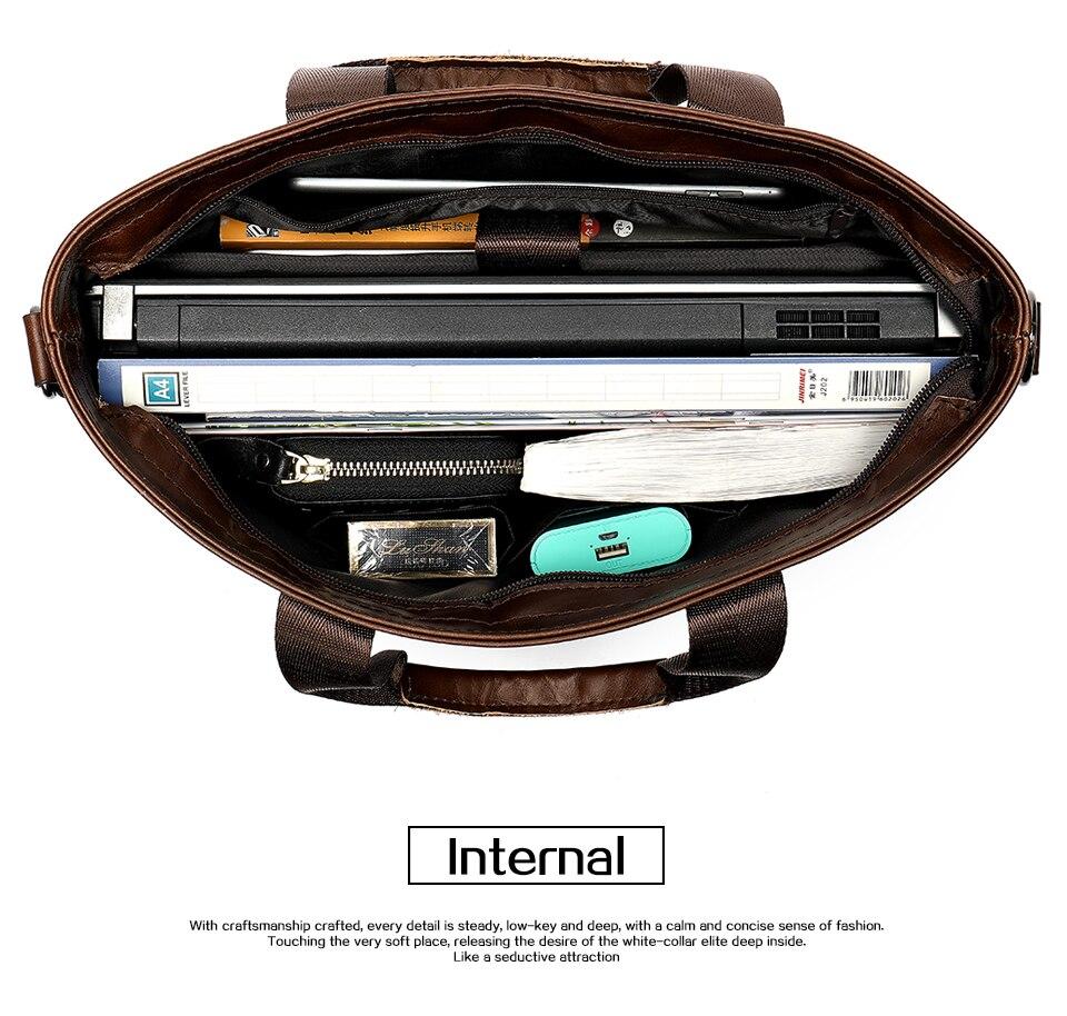 WESTAL hommes porte-documents en cuir pochette d'ordinateur pour hommes en cuir véritable sac de bureau pour hommes d'affaires 14 pouces document messenger sac hommes - 4