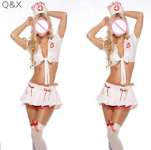 YQ39 2017 new hat uniform nurse lingerie skirt font b cosplay b font low cut women