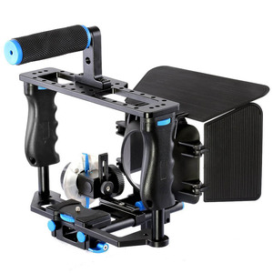 Image 5 - אחיזה כפולה DSLR מצלמה כתף Rig סרט סרט ערכת מערכת וידאו לחיצת יד תמיכה כלוב עבור Canon Nikon Sony מצלמות BMCC panasonic