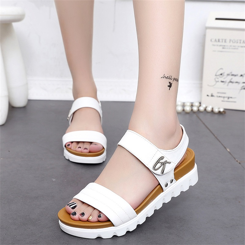 be37c43be4e854 Thick Soled Sandals Female Summer Nice New Students A Slip With Flat Sandals  all-match Muffin Leisure Korean Tide Women Sandals
