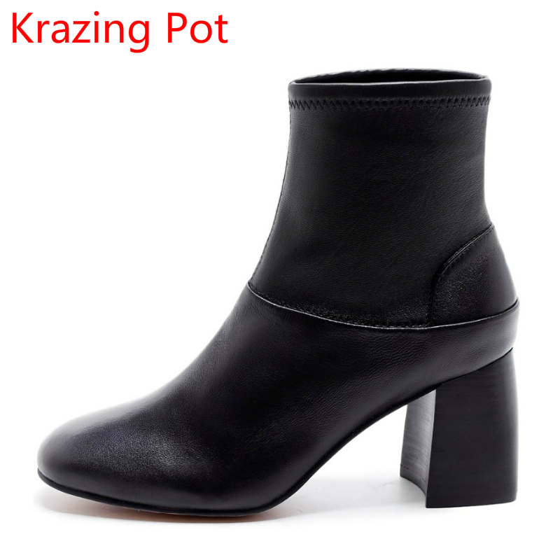 New Arrival Superstar Genuine Leather Chelsea Boots Women Round Toe Solid Thick Heel Runway Model Nude Zipper Mid-calf Boots L63 2018 new arrival fashion winter shoe genuine leather pointed toe high heel handmade party runway zipper women mid calf boots l11