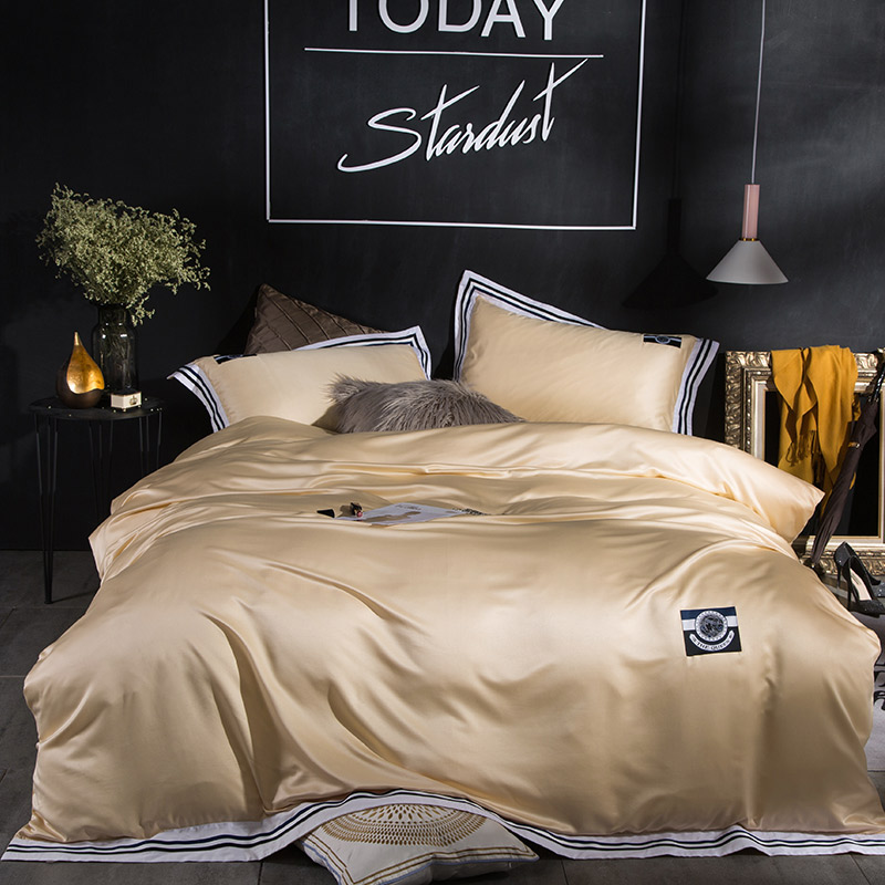 Luxury Washed Silk Sports style Ribbon Bedding Set Silky Smooth Duvet cover set Bed Sheet Pillowcases Queen King size 4pcsLuxury Washed Silk Sports style Ribbon Bedding Set Silky Smooth Duvet cover set Bed Sheet Pillowcases Queen King size 4pcs