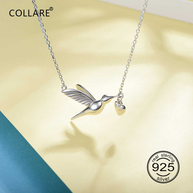 Collare 100% 925 Sterling Silver Hummingbird Pendant Valentine's Gift Girl's Dainty Jewelry Bird With Heart Necklace Women P623