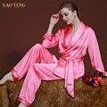 Искусственного Шелка Женщины Пижамы Установить Новое Прибытие Все Сезоны Женщины Брюки Бесплатная Доставка Пижамы Из Двух частей Пижамы Набор Крытый одежда