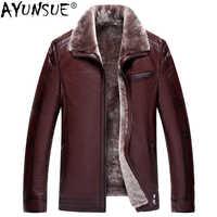 AYUNSUE Männlichen Echtem Leder Jacke Winter Schaffell Mantel für Männer Natürliche Wolle Pelz Plus Größe Chaqueta Cuero Hombre L77085 KJ843