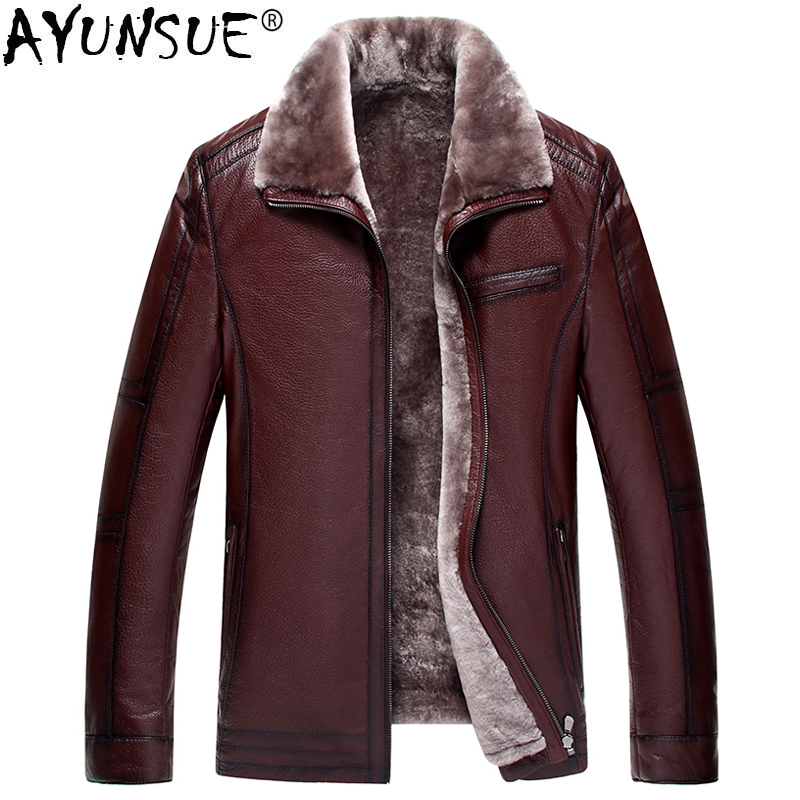 04f226707a1 AYUNSUE Male Genuine Leather Jacket Winter Sheepskin Coat for Men Natural  Wool Fur Plus Size 6xl Chaqueta Cuero Hombre KJ843-in Genuine Leather Coats  from ...