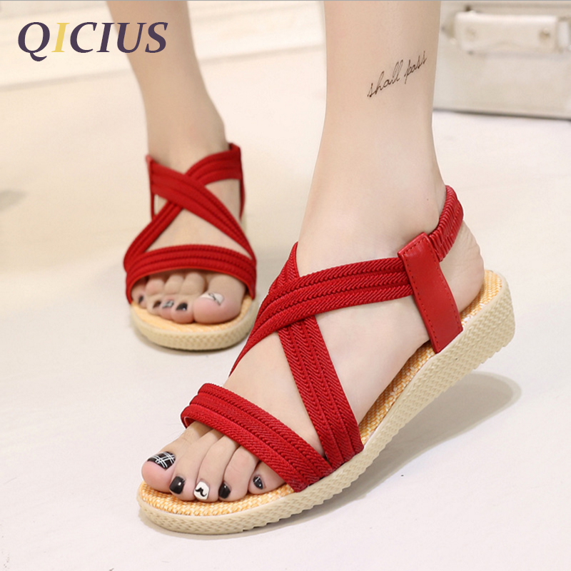 QICIUS Fashion Women Gladiator Sandals Outdoor Casual Summer Shoes Sandals Platform Shoes Cross-tied Wedge Woman Sandals B0036 timetang 2017 leather gladiator sandals comfort creepers platform casual shoes woman summer style mother women shoes xwd5583