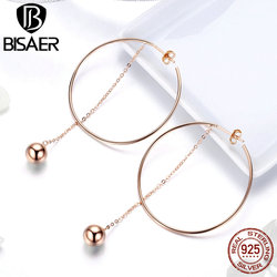 BISAER Hyperbole 925 Sterling Silver Big Round Circle Rose Gold Color Simple Line Drop Earrings Women 925 Silver Jewelry ECE569