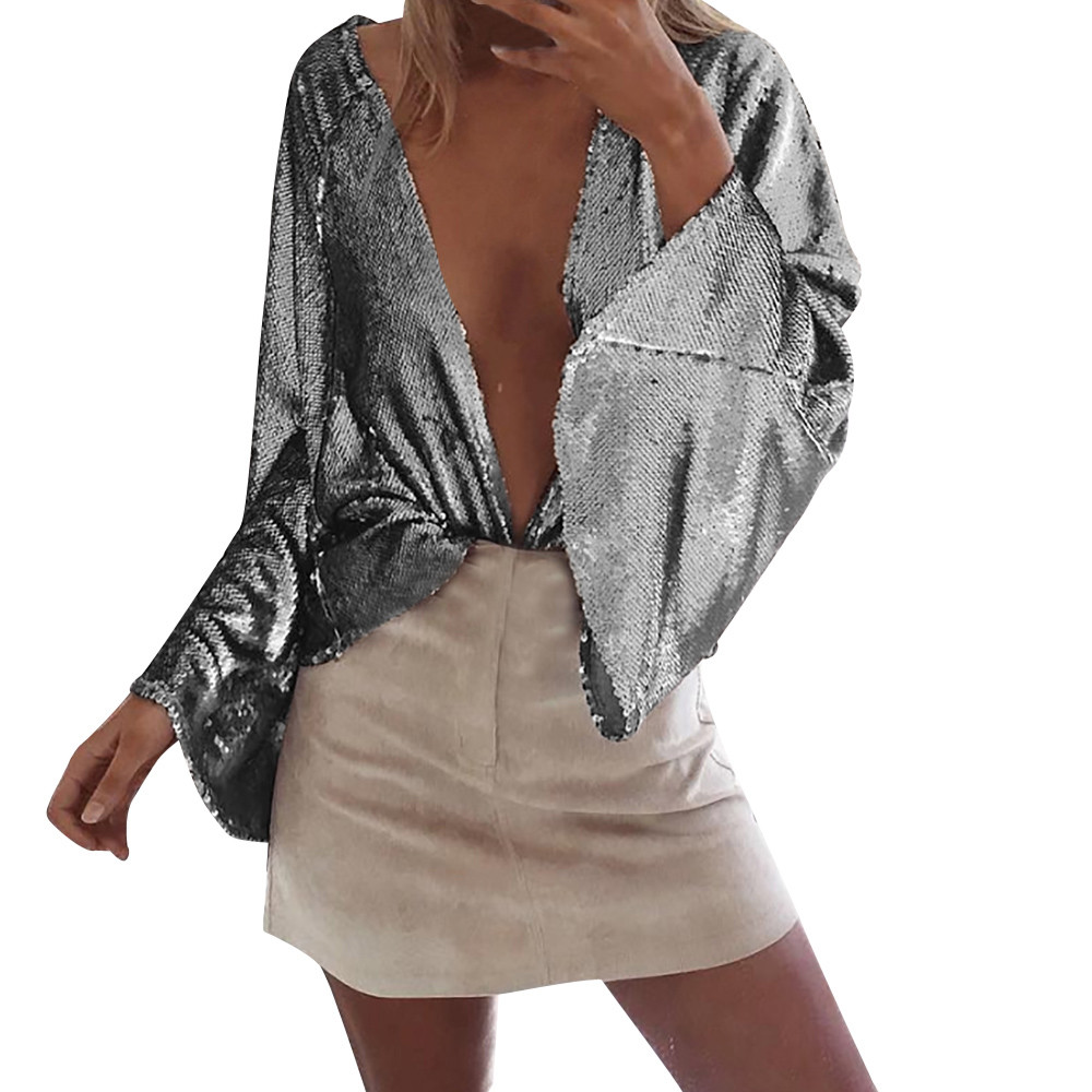 2018 shining silver outerwearing women deep v flare sleeve sequin open front short cardigan coat usps dropshipping