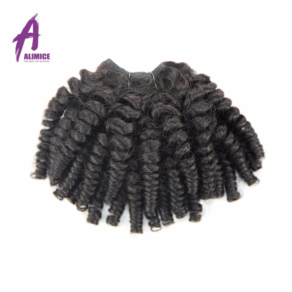 Alimice Brazilian Bouncy Curly Weave Human Hair 3 Bundles 8-30Inch Fummi Hair Extensions Natural Color Non Remy Hair Double Weft