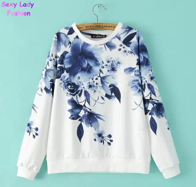 Fashion Fresh Blue Flower Floral Print White Color O Neck Pullover Jumper Womens Long Sleeve Casual