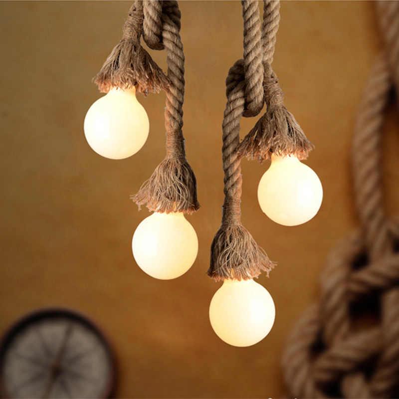 Винтажная пеньковая веревка подвесной светильник E27 база для лофта творческой личности промышленный подвесной светильник для ресторана Светильник для кафе