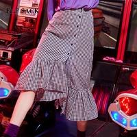 ELF SACK 2018 Summer Women Casual Plaid A Line Skirt Harajuku New Fashion Korea Vintage Female Stringy Selvedge Skirt Clothes